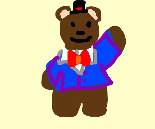 a dapper looking bear in a blue suit