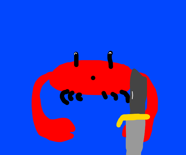A crab with a knife.