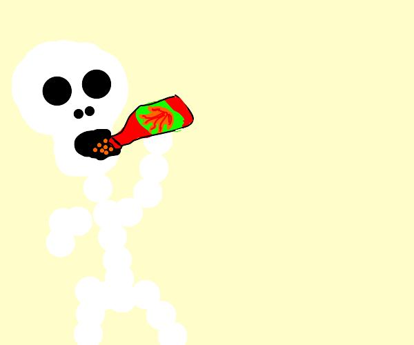 skeleton drinking hot sauce