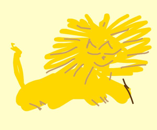 Lion with a pen
