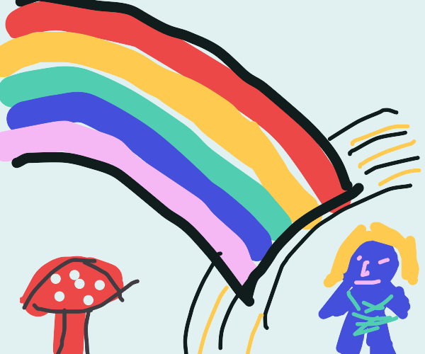 Smurf at end of a rainbow