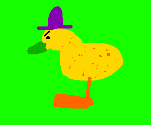 Spotty, annoyed duck with a purple hat.
