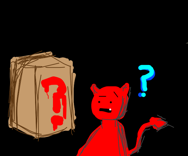 demon looking at large cube with ? on it