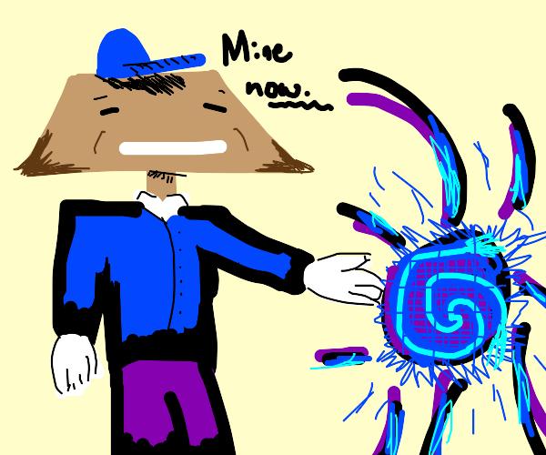 Trapezoid man steals blue substances
