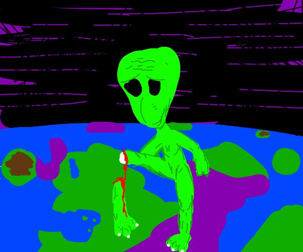 An alien breaking its leg.