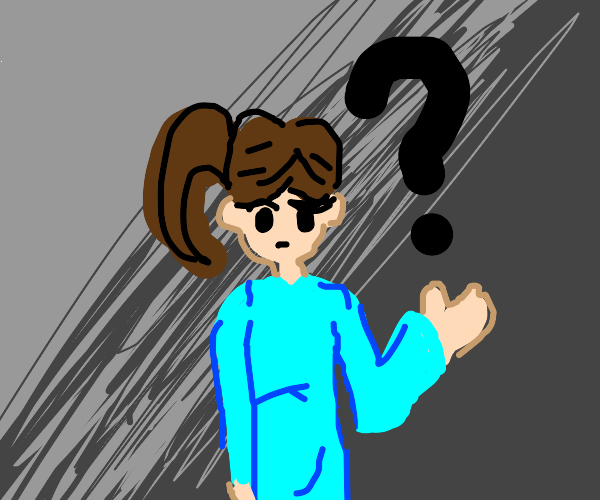 girl in a blue suit is confused