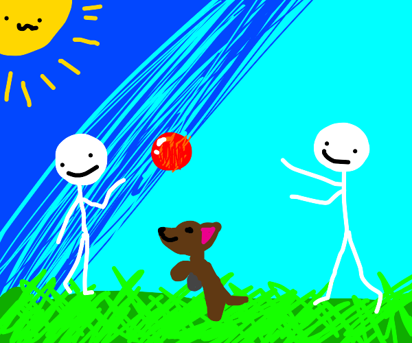 Two people playing catch with a dog