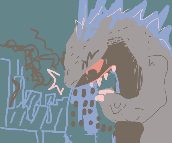 Derpy godzilla devours buildings