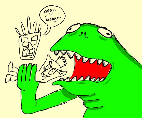 Green monster eating choco