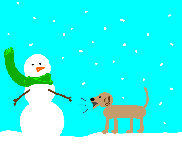 dog barks at green scarf snowman as it snows