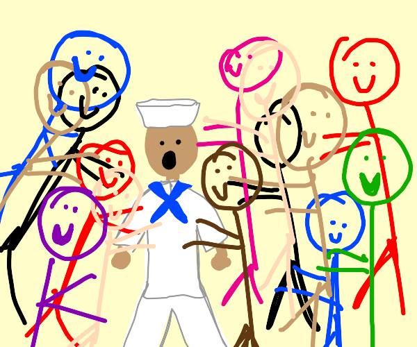 Sailor accosted by gleeful mob