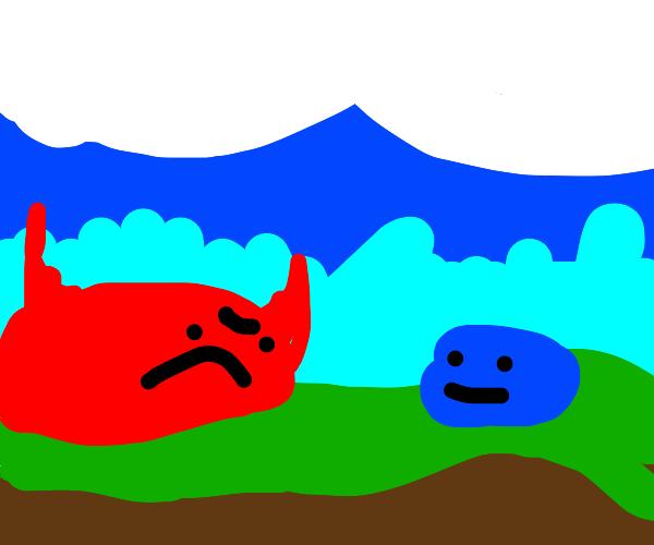 evil satan red blob next nice blue blob