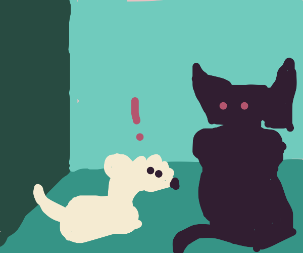 A mouse is scared at a large black cat ghost.