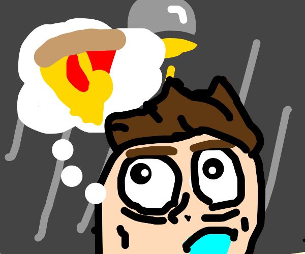 guy salivates while thinking about pizza.