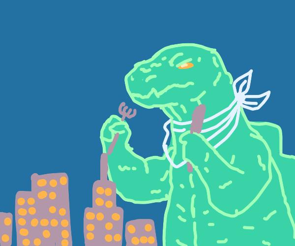Godzilla eating city