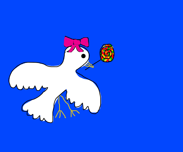 Dove with a bow has candy