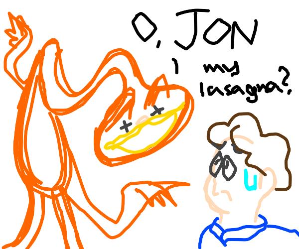 Cryptid Garfield questioning John