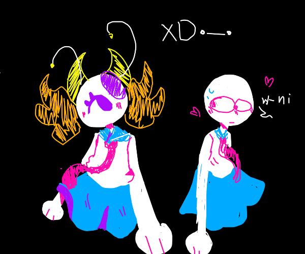 Two schoolgirls in love