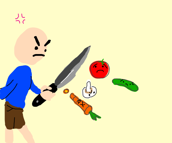 An angry person chopping vegetables