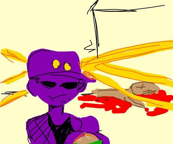 Purple Cop eats Burger at murder scene
