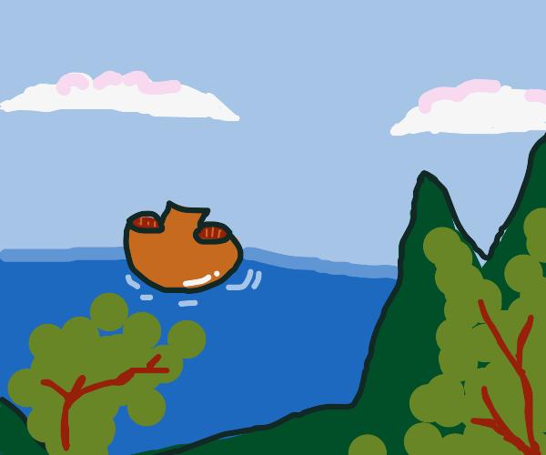 Portobello shroom boat heads for the shore.