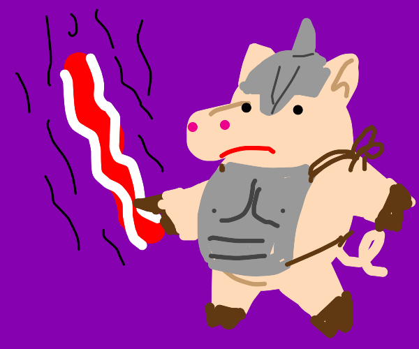 Pig knight with a bacon sword
