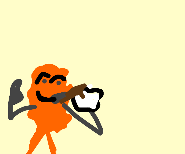 orange germ drink coffee happily