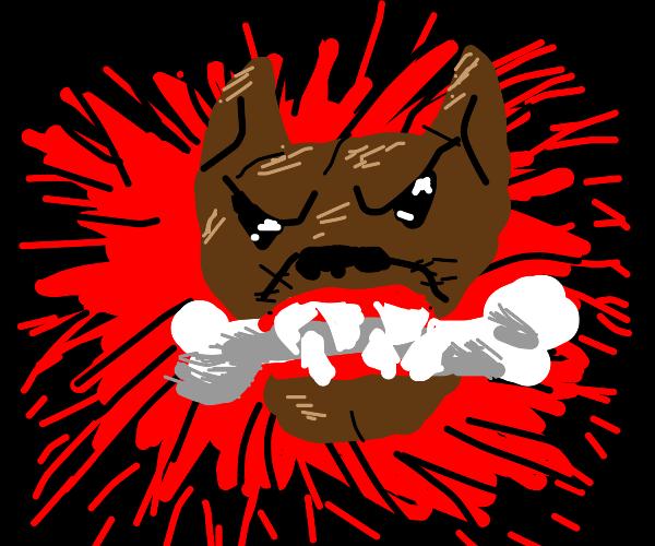 Mad dog enjoys bone