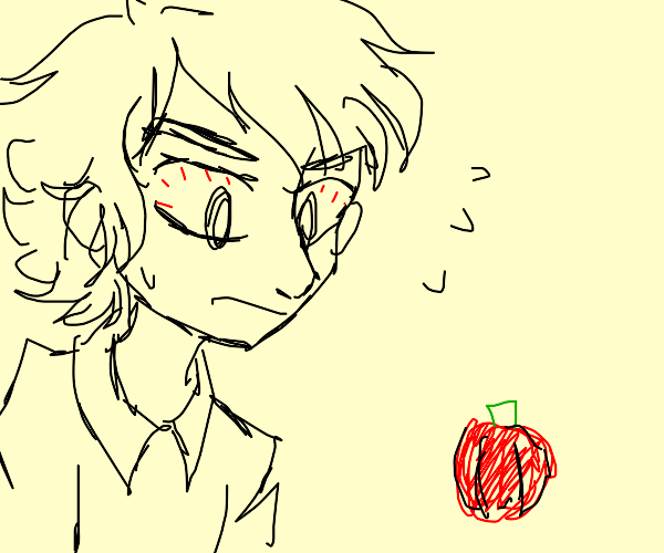 Guy staring at a red pepper