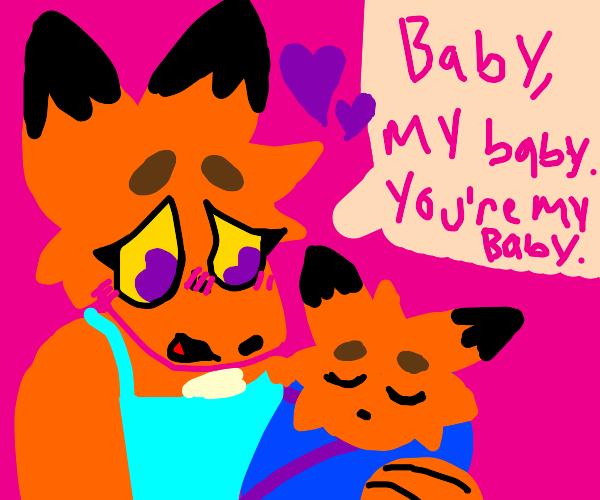 Momma fox loves her baby