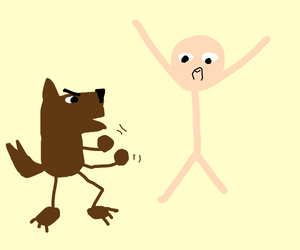 dog wants to fight reluctant man