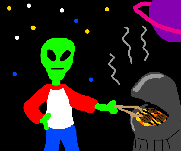 An alien grilling some burgers