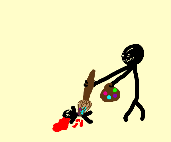 stickman murders tiny man with a paintbrush