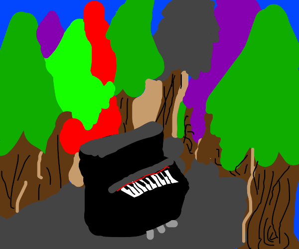 piano in the woods