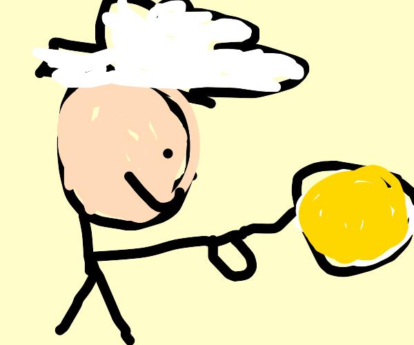 Man in Swedish attire making pancakes