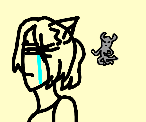 crying cat girl and flying gray demon