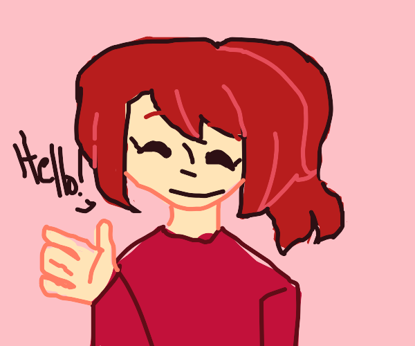Red hair lady waving hello.