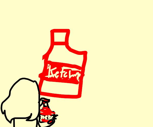 Girl painting ketchup using ketchup