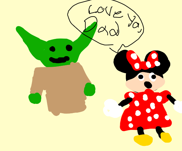 minnie mouses dad yoda picks her up