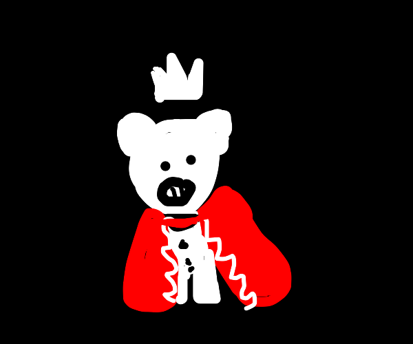 A white pig in a crown and a red royal robe