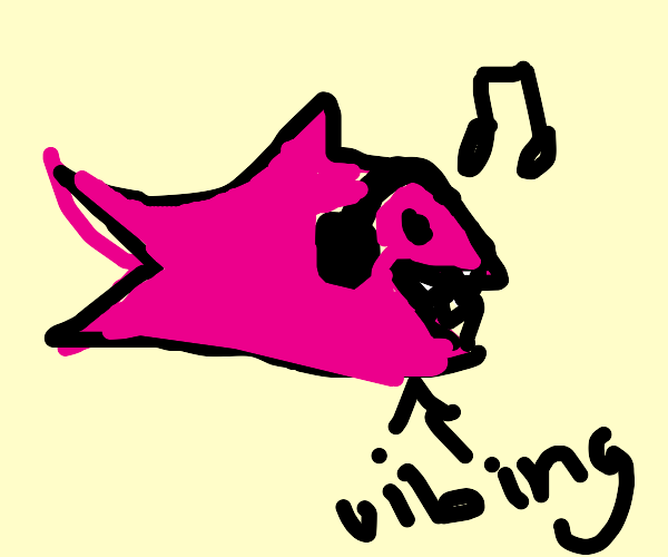 Pink shark vibes to music