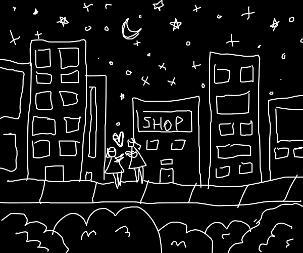 Lovers dance over a city at night