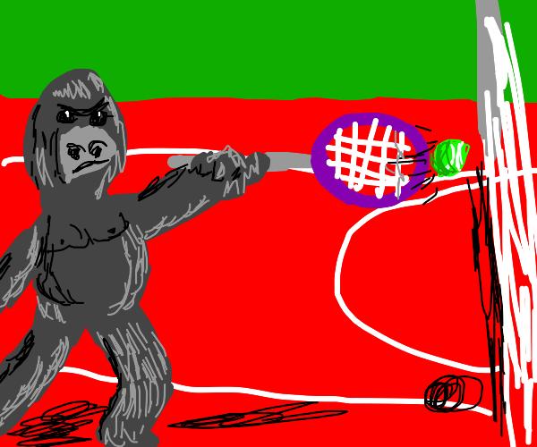 Gorilla playing tennis
