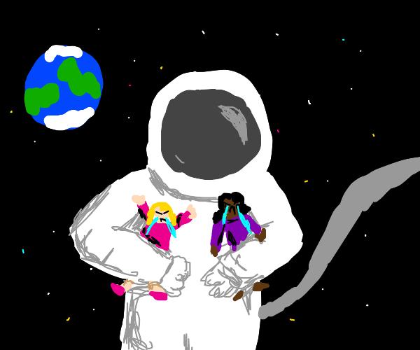 Large astronaut holding upset little girls