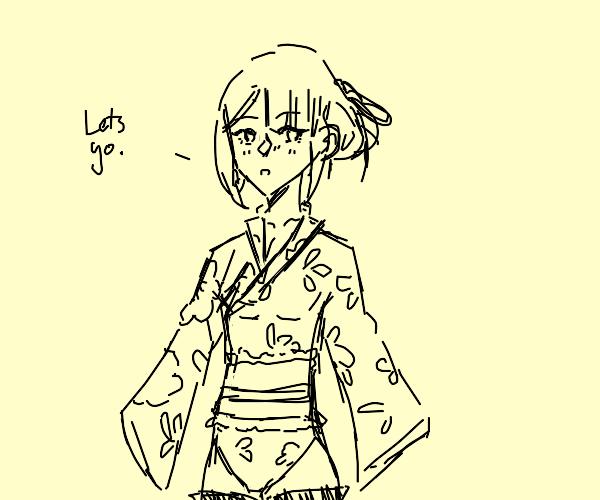Lady in kimono leotard says let's go