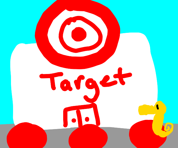 A seahorse in a ball on a target