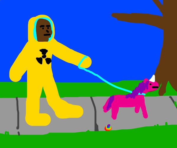 hazmat man walking a unicorn