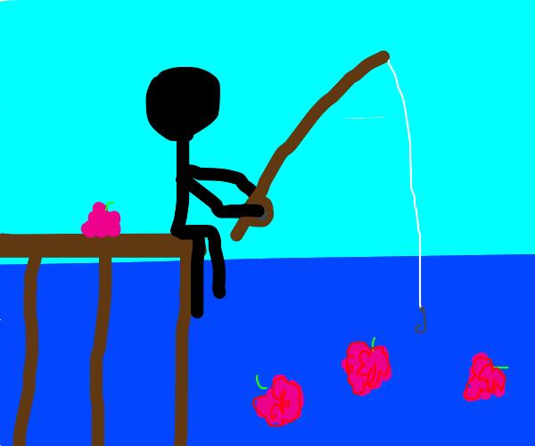 fishing for raspberries