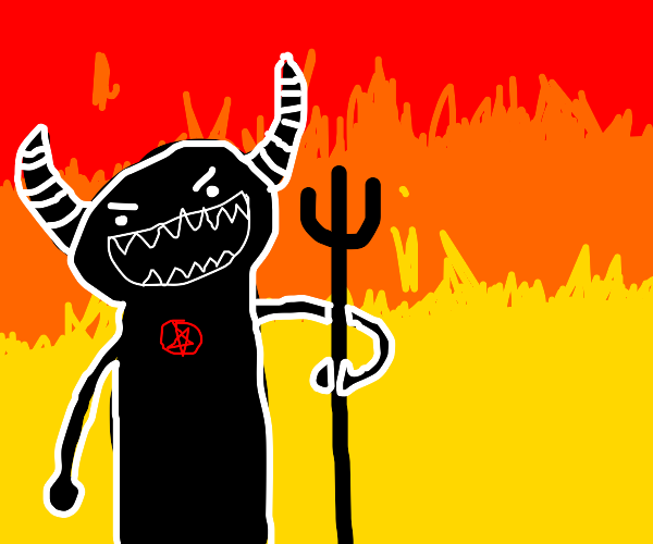 Beelzebub with pitchfork in Hell