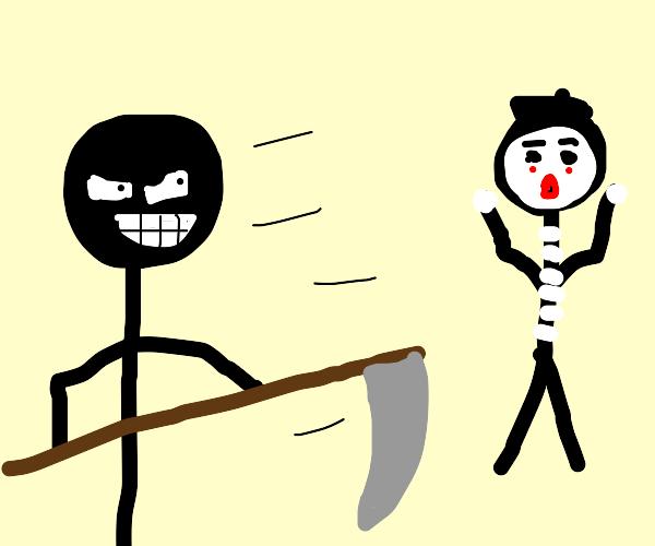 Stick man stealing a Mime's Scythe